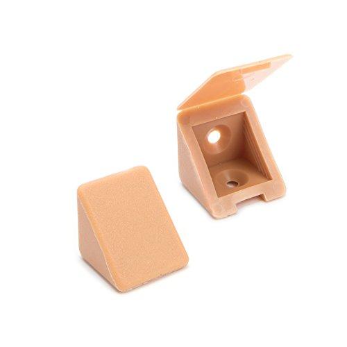 40 x sossai® Conector de muebles/conector angular con tapa   BT1, 2 agujeros   Color: haya   Material: plástico