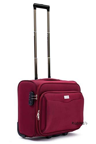 R.Leone Valigia bagaglio a mano 2 Ruote rinforzate Pilota Poliestere Stoffa adatto easyjet 45X36X20 (Bordò)