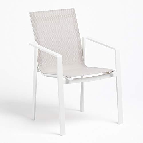 SKLUM Silla de Exterior Eika Aluminio - Textileno Blanco - (Elige Color)