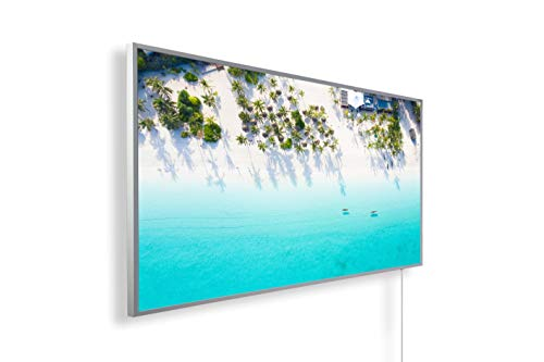 Könighaus Calefacción por infrarrojos – imagen – TÜV/GS – 1200 W + termostato inteligente + aplicación Könighaus – Marco blanco (14ª playa de ensueño 1)