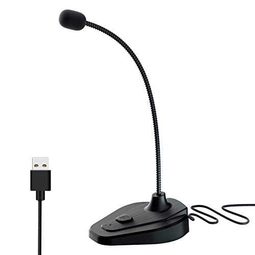 TINGDA USB-Mikrofon, Plug & Play-Computermikrofon mit Stummschalttaste, LED-Anzeige, Desktop-Kondensator PC-kompatibler Laptop, PS4 - Gesang, Podcasting, Skype, YouTube, Spiele, Streaming