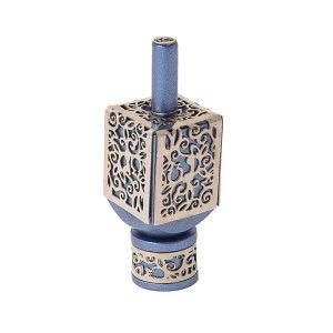 Yair Emanuel Decorative Dreidel on Base Blue Anodized Aluminum with Silver Colored Metal Cutout Floral Design Hanukkah Dreidel Spinning Top, Size Medium