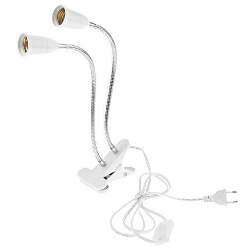 Baoblaze Doppelkopf Lampenfassung E27 mit Kabel - Lampensockel Halterung mit 170cm Kabel und Klemme - geeignet als Schreibtischlampe, Leselampe, Buchlampe, Bettlampe usw. - Weiß
