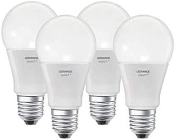 TALLA 4 unidades. Ledvance Bombilla Smart Home E27, 8.5 W, Luz Blanca cálida Regulable, 4 unidades, 4