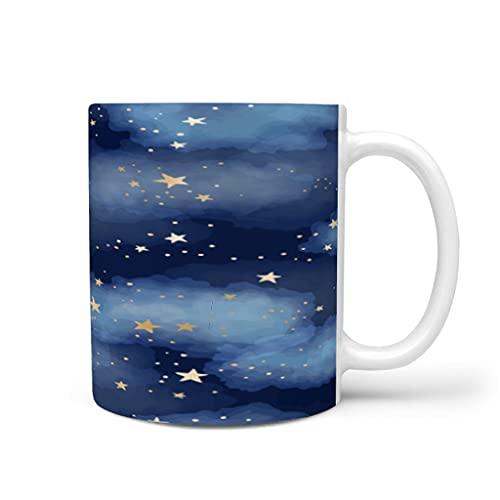 OwlOwlfan Taza de cerámica con diseño de estrellas y nubes, con asa para café, bar, cumpleaños, festival, regalo para mujeres y hombres, color blanco, 325 ml