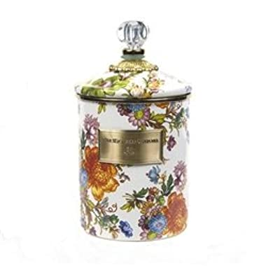 MacKenzie-Childs Flower Market Medium Enamel Canister - White 5  dia, 5.75  tall