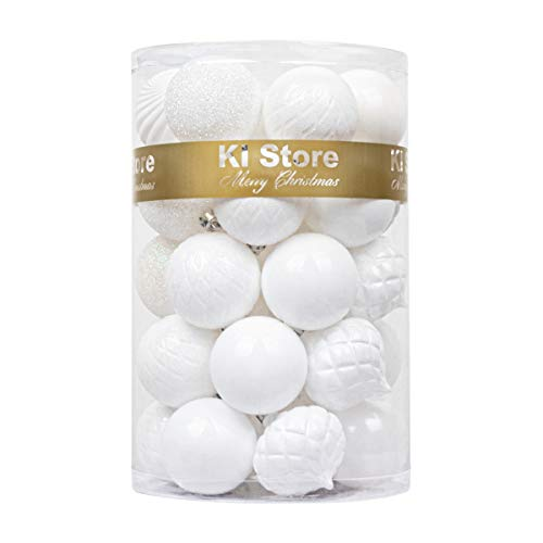 KI Store 34ct Christmas Ball Ornaments White Shatterproof Christmas Decorations Tree Balls for Holiday Wedding Party Decoration, Tree Ornaments Hooks Included 2.36-Inch