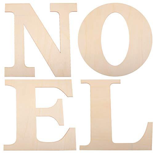 4 Pezzi 12 Pollici Lettere Noel in Legno Grandi Lettere in Legno di Ritaglio non Finite per Parete di Natale Festa Casa Decorazioni Artigianali Fai da Te