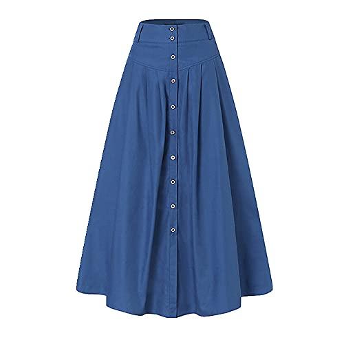 N\P Faldas de otoño de las mujeres Casual cintura larga, Royal, 5X-Large