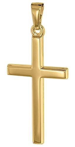 trendor Kreuz-Anhänger für Herren 25 mm Gold 585 / 14K Herren Goldanhänger, modischer Kreuzanhänger, Geschenkidee, eleganter Schmuck aus Echtgold 75542