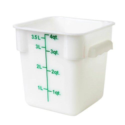 Excellante 4-Quart Polypropylene Square Food Storage Containers, White