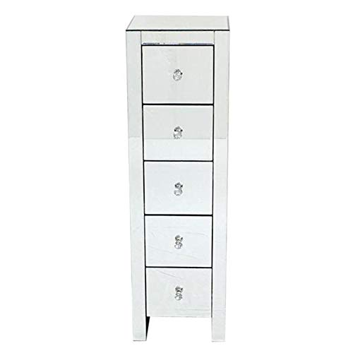 BFDMY Glass Mirror Cabinet Tall Cabinet with 5 Drawer Bathroom 5 Drawer Floor Standing Cabinet Unit Storage