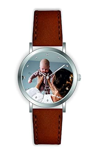 Reloj de pulsera personalizado con tu reloj de foto, diámetro de 36 mm, para mujer, regalo de foto fabricado en Alemania