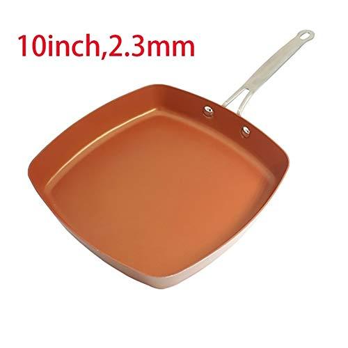 Pan anti-aanbaklaag koper pan keramische inductie kok pannen pan pan oven & vaatwasser veilig 8 inch antiaanbakplaat koper rode pan 10 Inch 2.3mm