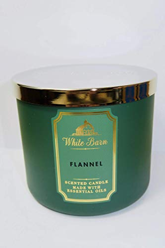 White Barn Bath and Body Works Flannel 3 Wick Scented Candle 14.5 Ounce