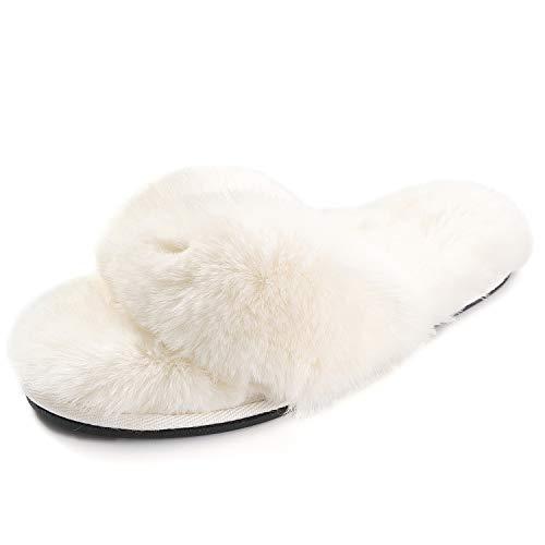 FLY HAWK Damen Pantoffeln, Plüsch Flip Flops aus Kunstfell rutschfeste Hausschuhe Fluff Zehentrenner Weiche Warme Fellhausschuhe,Weiß,36/37 EU (Herstellergröße S)