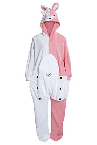 Dangan Monokuma Monomi Pijamas de Lana para Mujer Disfraz de Cosplay de Anime Ropa de Dormir Mono Oso Blanco y Negro Conejo Rosa