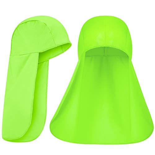 2 Packs Cooling Skull Cap Elastic Sun Shade Hat Neck Shield (Fluorescent Green)