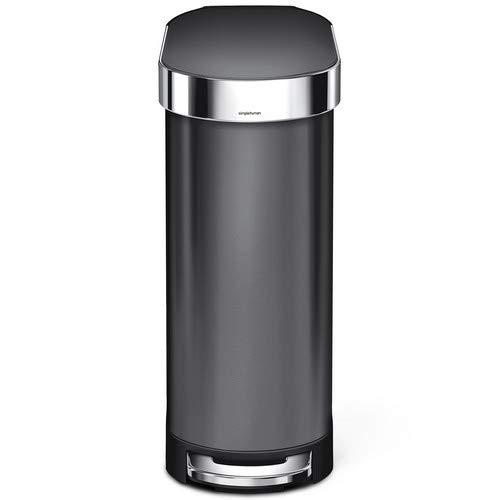 simplehuman Slim Step Trash Can with Liner Rim, Black Stainless Steel, 45 L/12 Gal