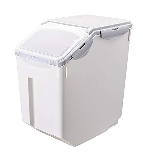 ペット フードストッカー 餌収納 保存容器 密閉 大容量 キャスター付き 米 犬餌 猫餌 ドライフード 収納ボックス 3~5kg/7~10kg 計量カップ付 湿気防止 乾燥 グレー 7~10kg