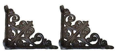 2 Antique Style Shelf Brace Wall Bracket Cast Iron Brackets Small 3 7/8' X 3 7/8'
