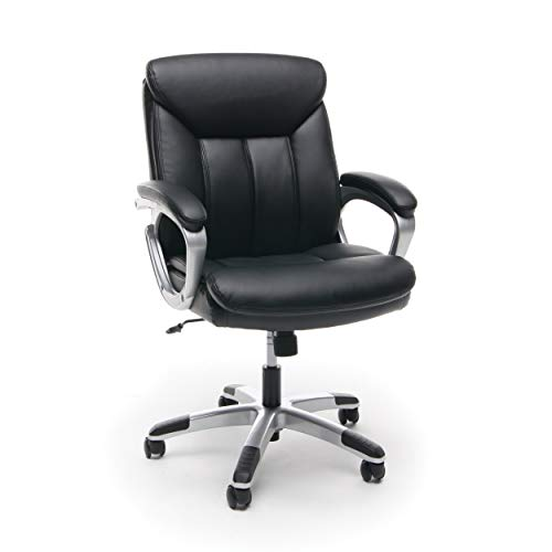 OFM Essentials Collection Executive Mid-Back Leather Office Chair, in Black/Silver