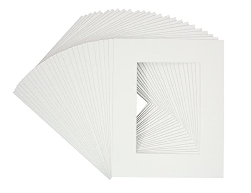 Golden State Art, Pack of 25 White 8x10 Picture Mats Mattes with White Core Bevel Cut for 5x7 Photo + Backing +Bags