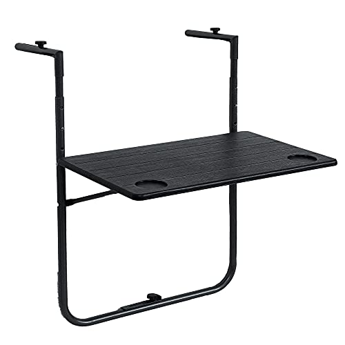 Sundale Outdoor Folding Railing Table, Plastic Adjustable Hanging Table for Patio, Garden, Balcony, Antique Wood Grain Design, Black