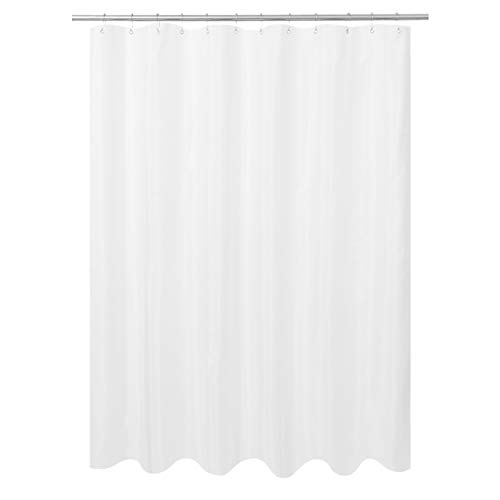 N&Y HOME Ultimate Waterproof Fabric Shower Curtain or Liner, Machine Washable & Breathable TPU, Use for Bath Tub/Stall, White, 72'x72' (Standard Size)