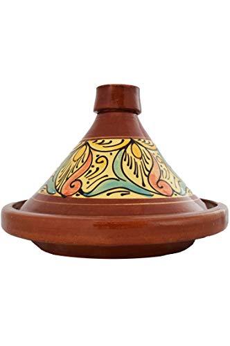 Marokkanische Tajine Topf zum Kochen | Schmortopf glasiert Chaouen Ø35cm 6-8 Personen | inklusive Rezept und Gebrauchsanweisung | ORIGINAL Tontopf handgetöpfert aus Marokko