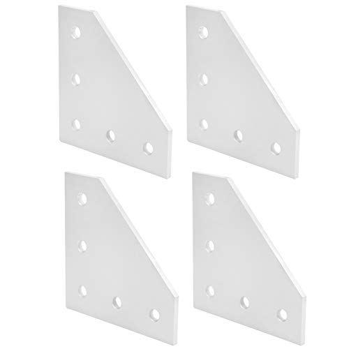 SALUTUYA 5-Hole Joining Plate, Practical Outside Joining Plate, Right Angle Connection Tool Silver Reinforcement Plate, for 3D printer for construction industry(3030L type)