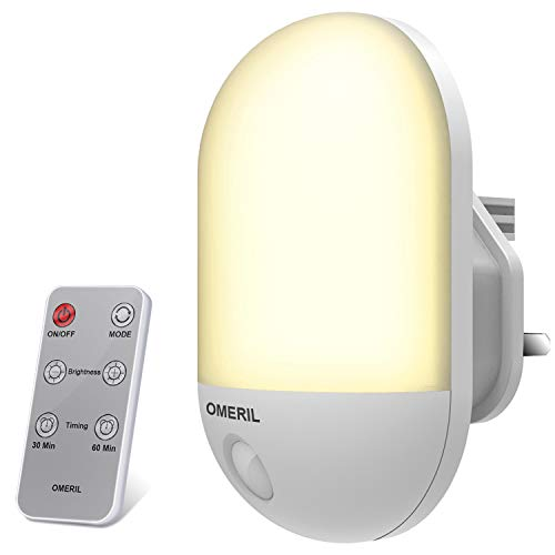 Plug in Night Light, OMERIL Dimmable LED Night Light Plug in Wall with Timer Function, Warm/Cool White Switchable and 3 Brightness, Remote Control, Night Light for Kids/Baby Room, Hallway, etc