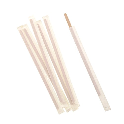 Royal 7.5 Inch Individually Wrapped Wood Coffee Stirrers, Package of 500