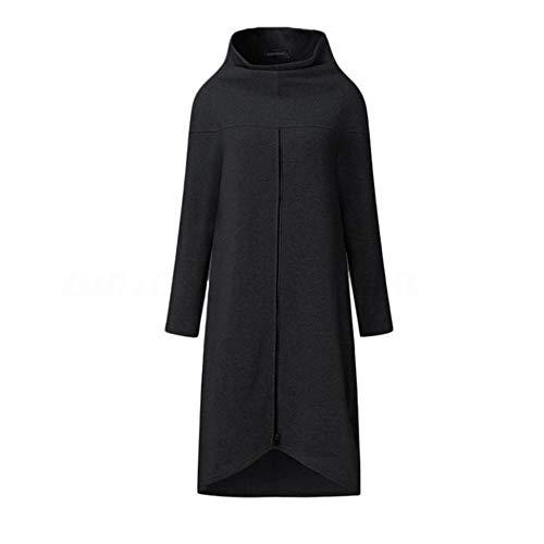 Gbc-type vrouwen lang hemd jurk avondparty High Low Asym split sweatshirt jurk winter warme verdikking plus ritssluiting pullover