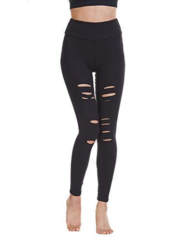 Baihetu Womens High Waist Yoga Pants Cutout Ripped Super Soft and Comfortable Skinny Leggings Black L