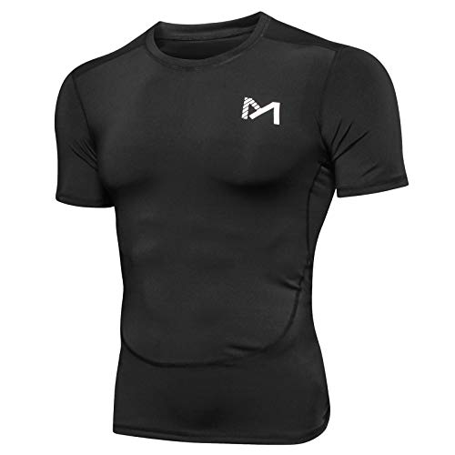 MEETYOO Camiseta Compresion Hombre, Manga Corta Camisetas Ropa Deportiva para Running Gym Ciclismo (Negro, XL)
