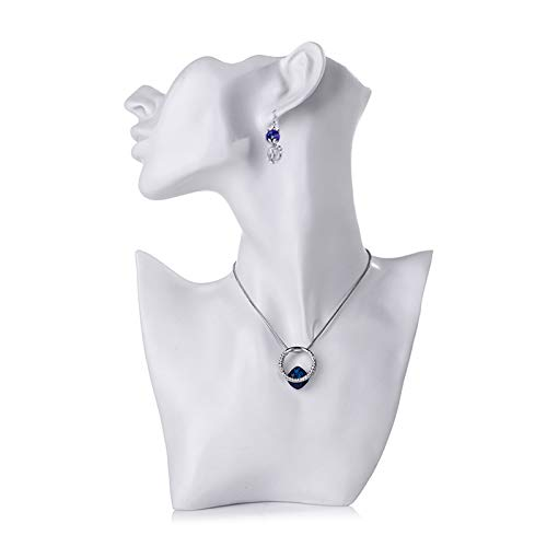 Tinaforld Necklace & Earring Display Jewelry Displays Shows Earring Display Stands Necklace Display Jewelry Mannequin Display Jewelry Bust Display (White, Large)