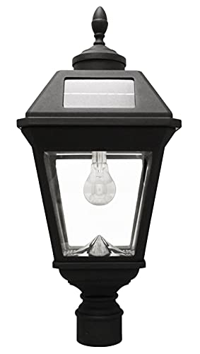 "Gama Sonic GS-97B-F Imperial Bulb Light Outdoor Solar Lamp, 3"" Post Fitter Mount, (Warm White LED, Black"