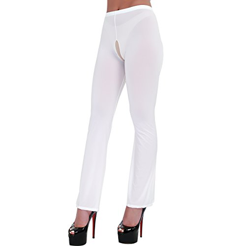 MSemis Women's Hollow Out See Through Sheer Long Flare Pants Tight Leggings Stretchy Trousers White Crotchless X-Large
