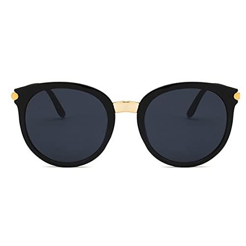 Sensitiveliu Gafas de Sol Moda Coreana Pc y Materiales de Resina Personalidad Retro Marco Redondo Señoras Coloridas Gafas de Sol de Marco Grande