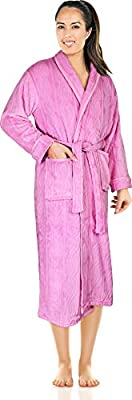 NY Threads Women's Embossed Fleece Bathrobe-Shawl Collar Ultra-Soft Spa Robe-Comfortable, Absorbent and Durable-by