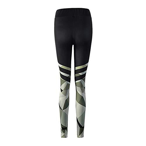 La impresión de las polainas de las mujeres Camo punto de poliéster de alta cintura de los pantalones ocasionales del verano adelgaza la aptitud de las mujeres Legggings ( Color : Black , Size : M )