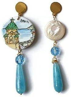 Orecchini amalfi, orecchini paesaggio, amalfi, orecchini in ceramica, orecchini dipinti a mano, ceramica di caltagirone