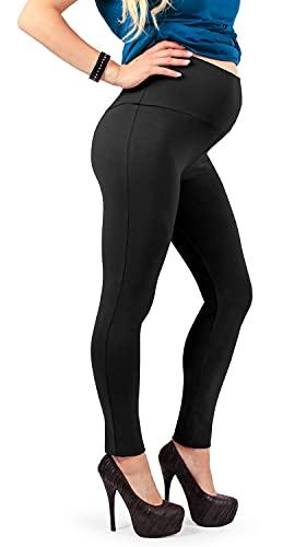 MAMAJEANS Leggings Premaman, Morbido Cotone elasticizzato e coprente, ottima vestibilità - Made in Italy (Nero 42 IT)