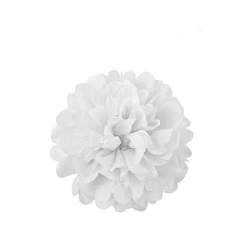 LIHAO 10x Pompom Papier Deko Seidenpapier hängende Blumeball Pompons Papierblumen für Ostern Valentinstag Hochzeit Graduierung Taufe Kinder Geburtstagsparty 20cm Weiß