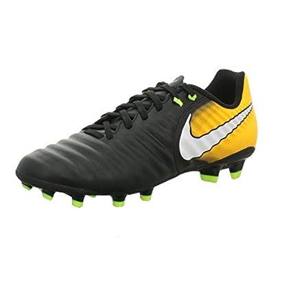 Nike Tiempo Ligera IV FG, Botas de fútbol Hombre, Negro (Black/White/Laser Orange/Volt), 40.5 EU