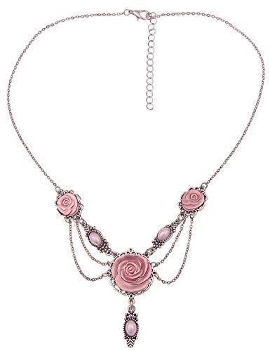 Leslii rosa Damen-Kette Rosen-Blüten Trachten-Kette Dirndl-Kette Oktoberfest Kurze Halskette Modeschmuck Silber Pink
