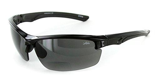 Aloha Eyewear Creekside Wrap-Around Polarized Bifocal Sport Safety Reading Sunglasses for Youthful, Active Men and Women (Black Smoke +1.50)