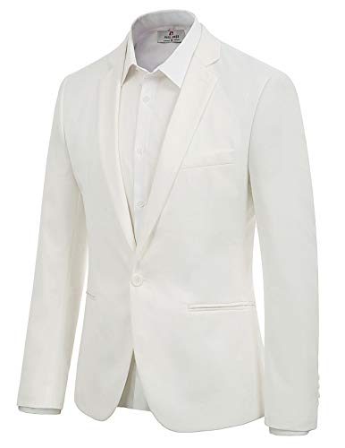 Mens Blazer Casual Slim Fit Lapel Suit Jacket One Button Dress Coat Size M White