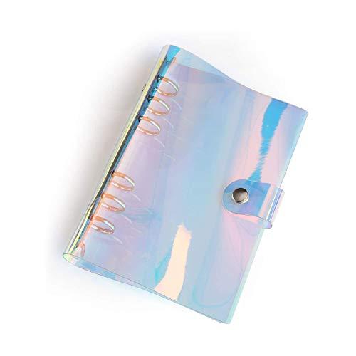 6穴 虹色PVCなシステム手帳 バインダー システム手帳 プランナー ルーズリーフ ファイロファックスノートブック オフィス学用品手帳 ボダン付き A5
